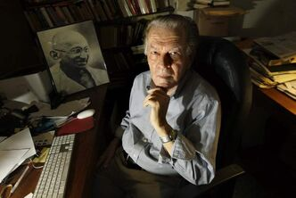 Gene Sharp at his office in Boston in 2009. Sharp is considered a favourite to be awarded the Nobel peace prize.