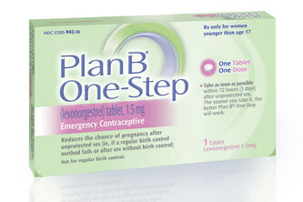 This undated image made available by Teva Women's Health shows the packaging for their Plan B One-Step (levonorgestrel) tablet, one of the brands known as the