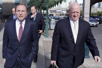 NHL commissioner Gary Bettman (left) arrives with deputy commissioner Bill Daly at collective bargaining talks in Toronto in October.