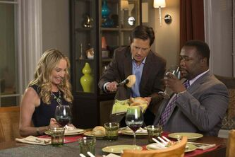 Family ties: Michael J. Fox, centre, stars with real-life wife Tracy Pollan, left, and Wendell Pierce.