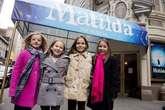 FILE - This Nov. 15, 2012 file photo shows, from left, Milly Shapiro, Sophia Gennusa, Oona Laurence and Bailey Ryon, the four actresses who share the starring role in