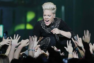 Pop superstar Pink rocked out to a sold-out crowd at the MTS Centre Tuesday night.