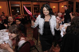 Provincial Liberal Leader Rana Bokhari speaks at the Liberal annual general meeting in Winnipeg Saturday.