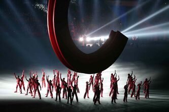 Scenes from Russia's Soviet past are performed during the Opening Ceremony for the Winter Olympics at Fisht Olympic Stadium in Sochi, Russia, Friday.