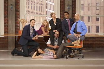 The cast of CTV's newest Canadian sitcom pose in this publicity shot. Back (from left), Paul Campbell, Rebecca Dalton, Dave Foley, Al Mukadan, J.P. Manoux; front (from left), Holly Deveaux, Darcy Michael.