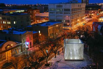 The Cube Stage in Old Market Square. The unique quality of Winnipeg's architecture has even begun to spark mainstream interest in the city as a potential tourist destination.