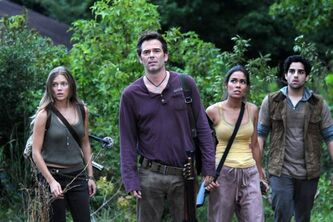 From left, Tracy Spiridakos as Charlie Matheson, Billy Burke as Miles Matheson, Daniella Alonso as Nora, and Paras Patel as Albert, in a scene from