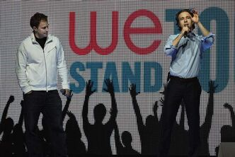Marc Kielburger (left) and Craig Kielburger take part in a dress rehearsal Monday at the MTS Centre prior to Tuesday's We Day Manitoba event.