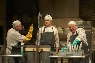 From left: Harry Nelken, Rylan Wilkie and Tom Anniko in The Dishwashers.