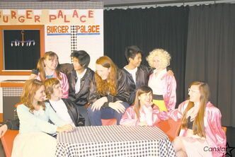 Cast members from Transcona Collegiate during a recent rehearsal for the school's production of Grease.