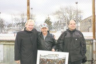 (From left) Coun. Thomas Steen (Elmwood-East Kildonan) with Elmwood residents John King and Carlos Sosa.
