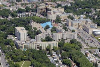 The Universite de Saint-Boniface and Saint Boniface Cathedral is seen in a July aerial photo.