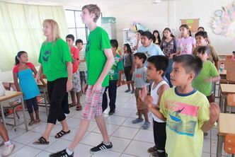 Headingley resident Chase Hornby and Lincoln Middle School teacher Leanna Crawshaw visit a school in Puerto Vallarta.