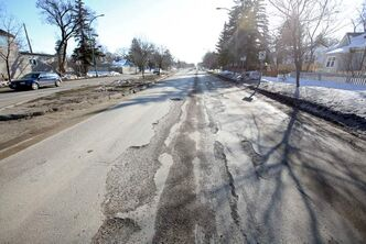 Large potholes in the eastbound lanes of Victoria Avenue near 21st Street in Brandon helped the street