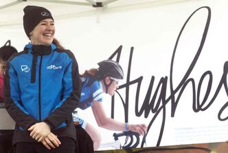Six-time Olympic medalist Clara Hughes appearing at Clara Hughes Recreation park during her cross-country cycling tour for mental-health issues on Sunday, June 15. Sarah Taylor / Winnipeg Free Press