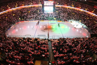 Fans wear white to a sold-out Game 6 of the AHL Calder Cup finals at the MTS Center in Winnipeg Friday night.