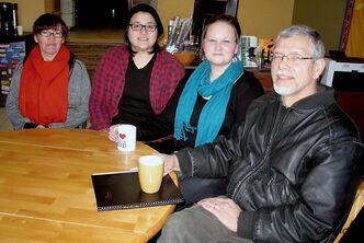 From left to right: Jean Pelltier of Aboriginal Visioning for the North End, Lifesafe community liaison Jenna Diubaldo, Aboriginal Visioning for the North End community facilitator Jenna Leskiw, and North End Community Renewal Corporation executive director Rob Neufeld. Aboriginal Visioning and the NECRC have been working together since 2008 to revitalize Powers Park, a project which grant funding is now trickling in for.