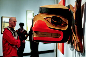 The Winnipeg Art Gallery is packed this rainy Victoria Day weekend as art lovers took the opportunity to visit the recently opened gallery titled, 100 Masters: Only in Canada.  A visitor to the gallery looks at the impressive wooden sculpture by Robert Davidson titled, Killer Whale Transforming into a Thunderbird, 2009. The show includs the works of major paintings by Rembrandt van Rijn, Giovanni Paolo Panini, Claude Monet, Pierre-August Renoir, Vincent van Gogh, Pablo Picasso, Henri Matisse, Andy Warhol and many more. It will be open until August 18th. 130519 May 19, 2013 Mike Deal / Winnipeg Free Press