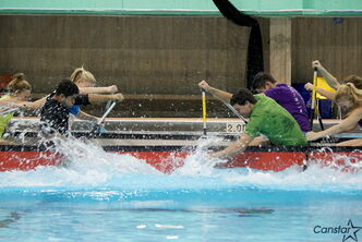 Members of the Manitoba Paddling Association's provincial team demonstrate indoor dragon boating.