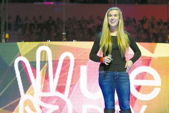Seeing Winnipeg anti-poverty campaigner Hannah Taylor (above) at We Day at MTS Centre last October was inspiring to Sisler High student Nathanael Meshesha.