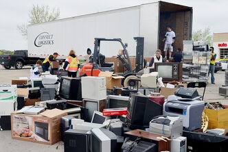 The 2013 Recyclathon at Garden City Shopping Centre saw many different kinds of electronics brought in by residents from all over Winnipeg.