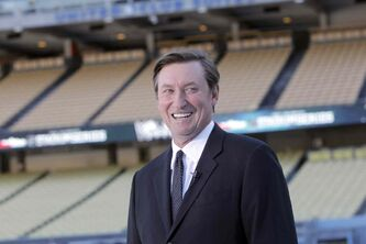 Wayne Gretzky at Dodger Stadium earlier this year.
