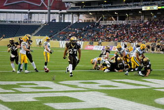 Manitoba Bisons running back Kienan LaFrance races untouched into the end zone to score the very first Bisons touchdown at Investors Group Field. The Bisons are on the road Sept. 14 against the UBC Thunderbirds.