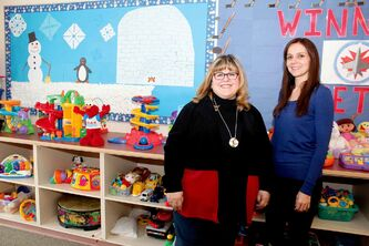 Cathie Haworth (left) and Jackie Cunningham, who are early childhood teachers in the Seven Oaks School Division, are shown.