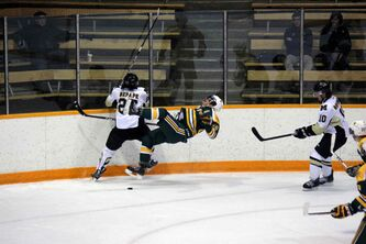 The University of Manitoba Bisons men's hockey team was routed Friday night in their season opener, falling to the University of Alberta Golden bears 5-0 in front of a home crowd at Wayne Fleming Arena in the Max Bell Centre.
