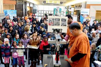 The Association of Professional Engineers and Geoscientists of Manitoba held its spaghetti bridge building competition Saturday afternoon at Kildonan Place mall in conjunction with Provincial Engineering and Geoscience Week. For every pound of weight a bridge held, APEGM will donate a pound of food to Winnipeg Harvest.