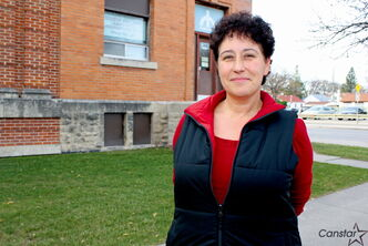 Wanda Prychitko, president of Citizens For Crime Awareness in St. James, stands outside the organization's office at 350 Rutland St. at Ness Avenue. Local councillors Scott Fielding and Grant Nordman want police to investigate opening a small service centre in the building, when the District 2 station moves across the river next year.