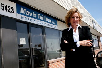 Former Tory MLA Mavis Taillieu outside constituency office