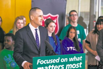 Provincial Minister of Children and Youth Opportunities Kevin Chief was recently on hand at the announcement of nearly $2,000 in funding for sports equipment for the youth drop-in program at the Barbara Mitchell Family Resource Centre.