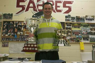 Springfield Sabres head coach Severyn Wojcik is shown with his WHSHL coach of the year award and the team's Price Division championship trophy.