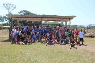River East Collegiate students and staff are shown with several children they helped during their nine-day service tour in Costa Rica.