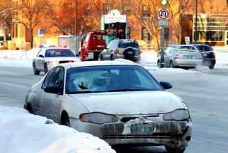 Eastbound Portage was closed Tuesday while police investigated the collision.