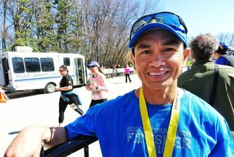 Winnipeg Police Service Officer Jimmy Anis at the finish line during the Winnipeg Police Service half marathon at Assiniboine Park Sunday. Jimmy was taking part in the Boston Marathon this year and has also finished first among the department for the last eight years, losing his title this year to a WPS recruit by less than a second.