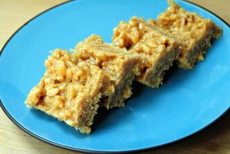 No-Bake Peanut Butter Squares are soft  and sweet,  somewhere between  a cookie  and candy.