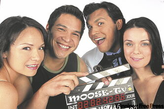 Moose TV cast, from left, Jennifer Podemski, Nathaniel Arcand, Adam Beach and Michelle Latimer.