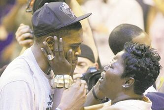 Kevin Durant is greeted warmly by his mother, Wanda Pratt, after Game 6 in Oklahoma City.
