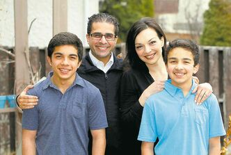 Sachit Mehra (back left) with his family, Caroline (back right), Mohit (front left) and Givan.