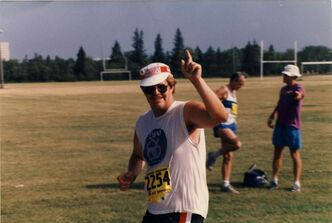 'Dancing' Gabe Langlois in the Manitoba Marathon in 1987.