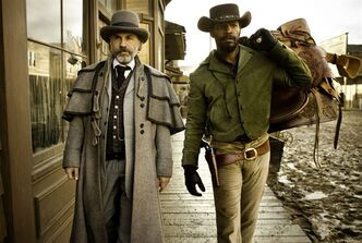 FILE - This undated publicity file image released by The Weinstein Company shows, from left, Christoph Waltz as Schultz and Jamie Foxx as Django in the film