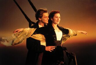 Kate Winslet and Leonardo DiCaprio are shown in a scene from,