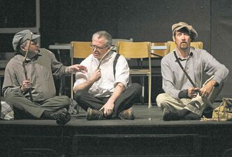 From left, James Warnez, Paul St. Pierre and David Simard  in Black Bottle Man at Brandon University.