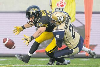 With four games remaining against teams the Bombers have already beat — such as the B.C. Lions  and Hamilton Tiger-Cats (above) — a crossover to the East is a very real option to back-door their way into the Grey Cup.