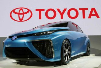 A Toyota FCV (fuel cell vehicle) concept car at a media preview for the Tokyo Motor Show on Wednesday.