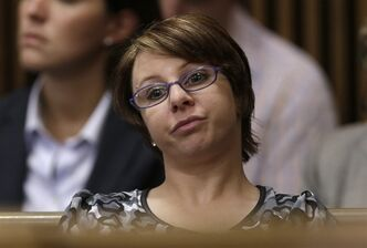 Michelle Knight listens as Ariel Castro speaks during the sentencing phase Thursday, Aug. 1, 2013, in Cleveland. THE CANADIAN PRESS/AP, Tony Dejak