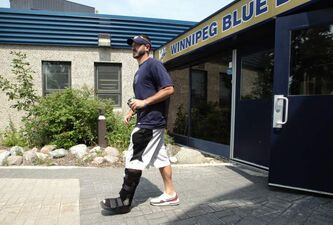 Winnipeg Blue Bomber quarterback Buck Pierce leaves the Canad Inns Stadium after speaking to the media regarding his injured status.