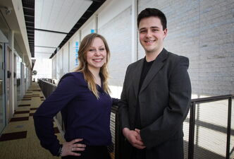Melissa Therrien (left) and Matthew Hodgins are education students at Universite de Saint-Boniface who are grads of French immersion system and want to be French immersion teachers.